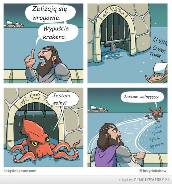 Przygody krakena –  Oczekiwania kontra rzeczywistość:W ogóleDziadek ma koło domuoczko wodneI my tam mieliśmyszczupaki hodowaćAle zamiast szczupakówHoduje się tam mój staryDEMOTYWATORY.PL