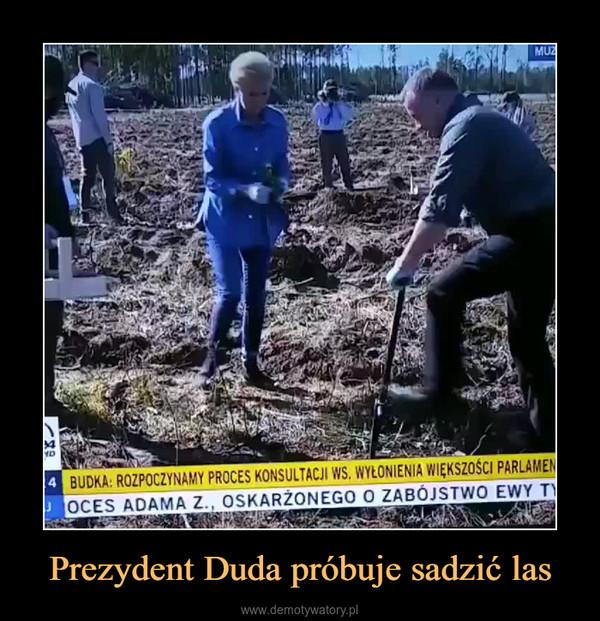 Prezydent Duda próbuje sadzić las –