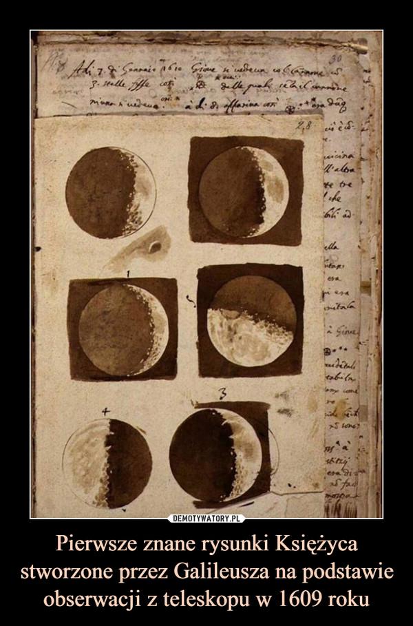 Pierwsze znane rysunki Księżyca stworzone przez Galileusza na podstawie obserwacji z teleskopu w 1609 roku –