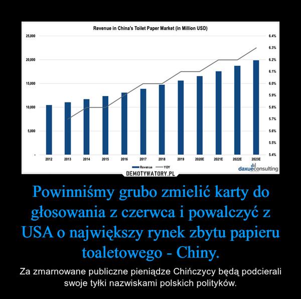 Powinniśmy grubo zmielić karty do głosowania z czerwca i powalczyć z USA o największy rynek zbytu papieru toaletowego - Chiny. – Za zmarnowane publiczne pieniądze Chińczycy będą podcierali swoje tyłki nazwiskami polskich polityków.