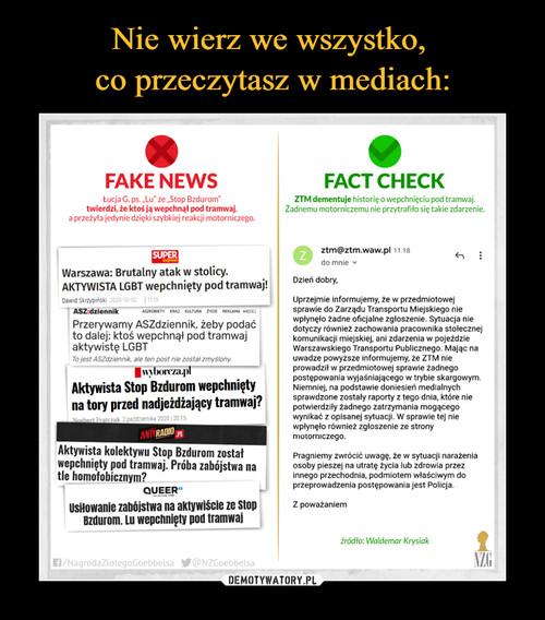 Nie wierz we wszystko,  co przeczytasz w mediach: