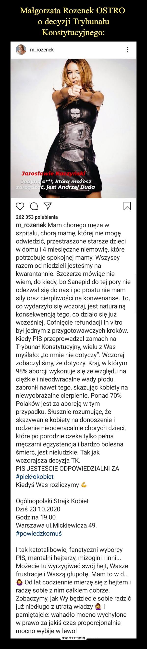 Małgorzata Rozenek OSTRO  o decyzji Trybunału Konstytucyjnego: