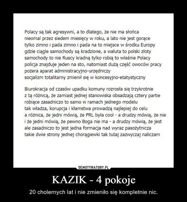 KAZIK - 4 pokoje – 20 cholernych lat i nie zmieniło się kompletnie nic.