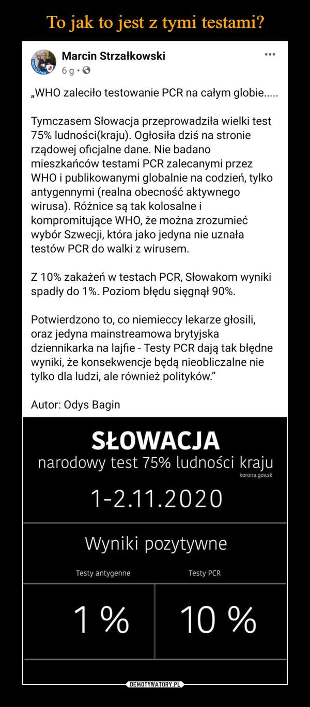 """–  Marcin Strzałkowskitmh6 sgSopfonSgsdSorez.da  · """"WHO zaleciło testowanie PCR na całym globie.....Tymczasem Słowacja przeprowadziła wielki test 75% ludności(kraju). Ogłosiła dziś na stronie rządowej oficjalne dane. Nie badano mieszkańców testami PCR zalecanymi przez WHO i publikowanymi globalnie na codzień, tylko antygennymi (realna obecność aktywnego wirusa). Różnice są tak kolosalne i kompromitujące WHO, że można zrozumieć wybór Szwecji, która jako jedyna nie uznała testów PCR do walki z wirusem.Z 10% zakażeń w testach PCR, Słowakom wyniki spadły do 1%. Poziom błędu sięgnął 90%.Potwierdzono to, co niemieccy lekarze głosili, oraz jedyna mainstreamowa brytyjska dziennikarka na lajfie - Testy PCR dają tak błędne wyniki, że konsekwencje będą nieobliczalne nie tylko dla ludzi, ale również polityków.""""Autor: Odys Bagin"""