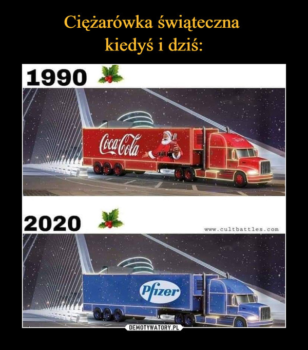 Ciężarówka świąteczna  kiedyś i dziś: