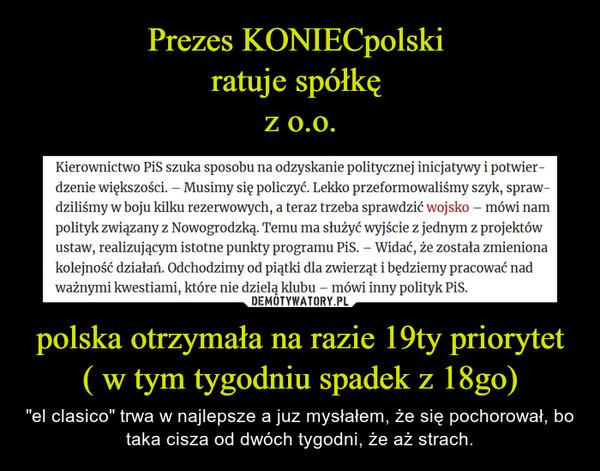 """polska otrzymała na razie 19ty priorytet( w tym tygodniu spadek z 18go) – """"el clasico"""" trwa w najlepsze a juz mysłałem, że się pochorował, bo taka cisza od dwóch tygodni, że aż strach."""