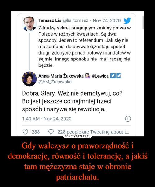 Gdy walczysz o praworządność i demokrację, równość i tolerancję, a jakiś tam mężczyzna staje w obronie patriarchatu.