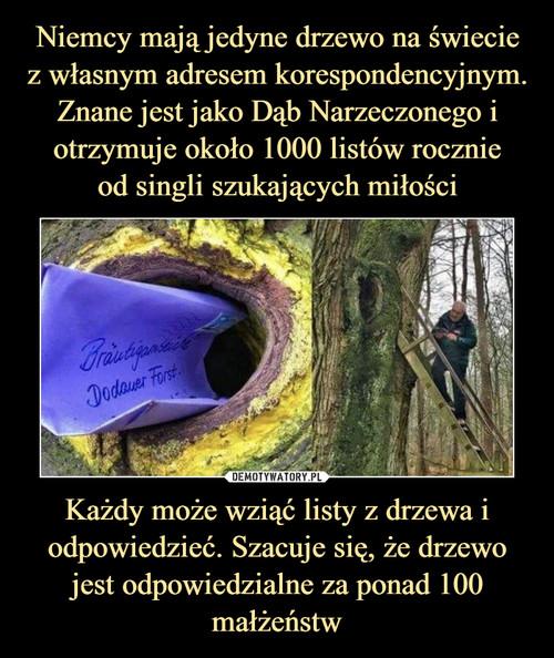 Niemcy mają jedyne drzewo na świecie z własnym adresem korespondencyjnym. Znane jest jako Dąb Narzeczonego i otrzymuje około 1000 listów rocznie od singli szukających miłości Każdy może wziąć listy z drzewa i odpowiedzieć. Szacuje się, że drzewo jest odpowiedzialne za ponad 100 małżeństw
