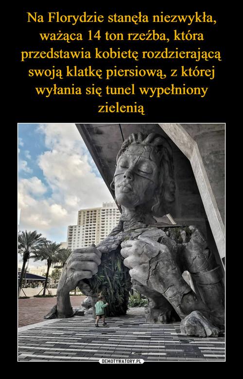 Na Florydzie stanęła niezwykła, ważąca 14 ton rzeźba, która przedstawia kobietę rozdzierającą swoją klatkę piersiową, z której wyłania się tunel wypełniony zielenią