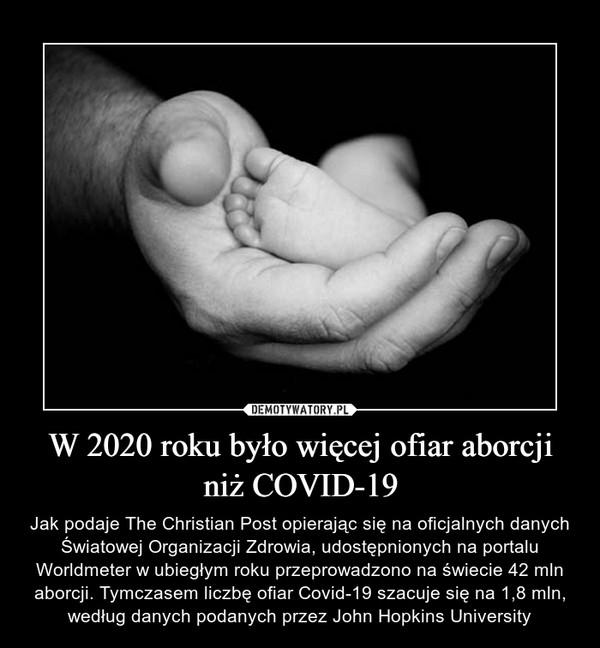 W 2020 roku było więcej ofiar aborcji niż COVID-19 – Jak podaje The Christian Post opierając się na oficjalnych danych Światowej Organizacji Zdrowia, udostępnionych na portalu Worldmeter w ubiegłym roku przeprowadzono na świecie 42 mln aborcji. Tymczasem liczbę ofiar Covid-19 szacuje się na 1,8 mln, według danych podanych przez John Hopkins University