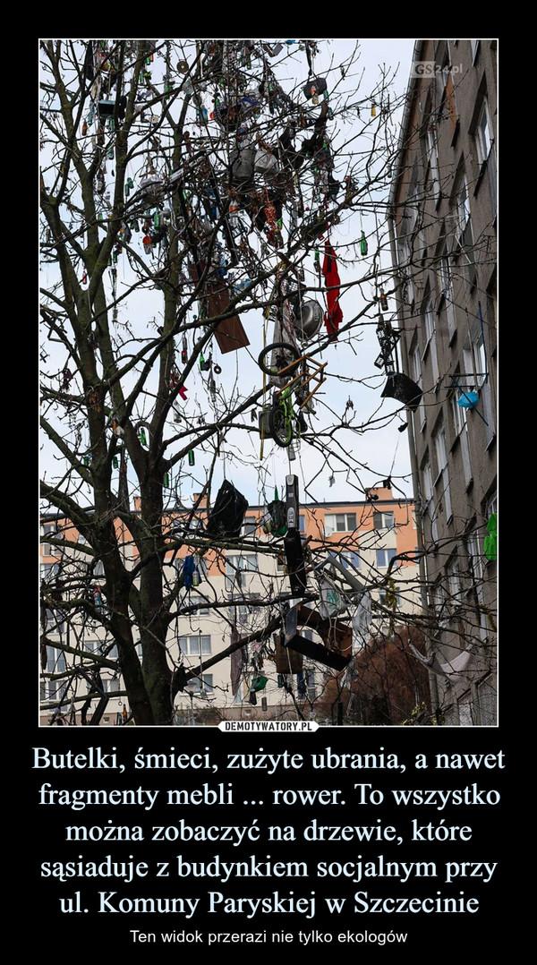 Butelki, śmieci, zużyte ubrania, a nawet fragmenty mebli ... rower. To wszystko można zobaczyć na drzewie, które sąsiaduje z budynkiem socjalnym przy ul. Komuny Paryskiej w Szczecinie – Ten widok przerazi nie tylko ekologów