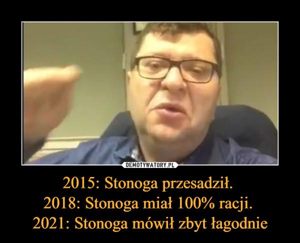 2015: Stonoga przesadził. 2018: Stonoga miał 100% racji. 2021: Stonoga mówił zbyt łagodnie –
