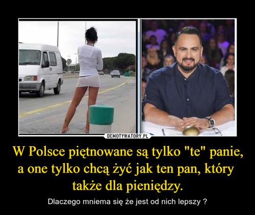 """W Polsce piętnowane są tylko """"te"""" panie, a one tylko chcą żyć jak ten pan, który  także dla pieniędzy."""
