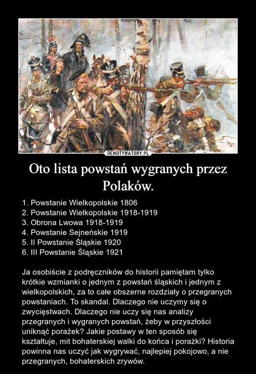 Oto lista powstań wygranych przez Polaków.