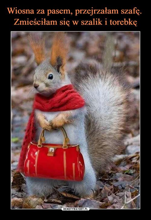 Wiosna za pasem, przejrzałam szafę.  Zmieściłam się w szalik i torebkę
