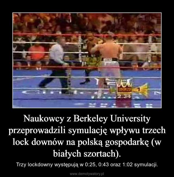 Naukowcy z Berkeley University przeprowadzili symulację wpływu trzech lock downów na polską gospodarkę (w białych szortach). – Trzy lockdowny występują w 0:25, 0:43 oraz 1:02 symulacji.