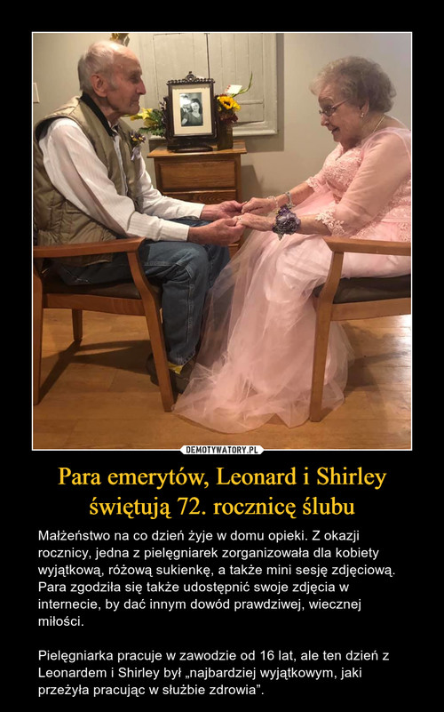 Para emerytów, Leonard i Shirley świętują 72. rocznicę ślubu