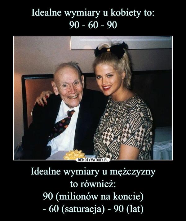 Idealne wymiary u mężczyznyto również:90 (milionów na koncie)- 60 (saturacja) - 90 (lat) –