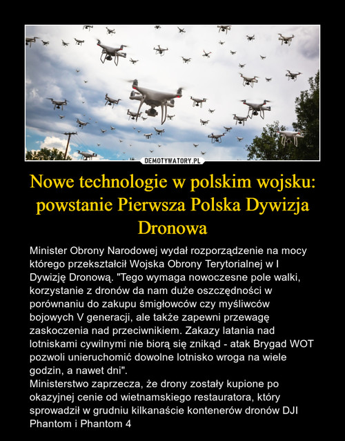 Nowe technologie w polskim wojsku: powstanie Pierwsza Polska Dywizja Dronowa