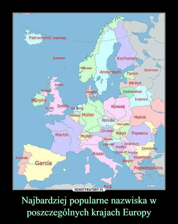 Najbardziej popularne nazwiska w poszczególnych krajach Europy –