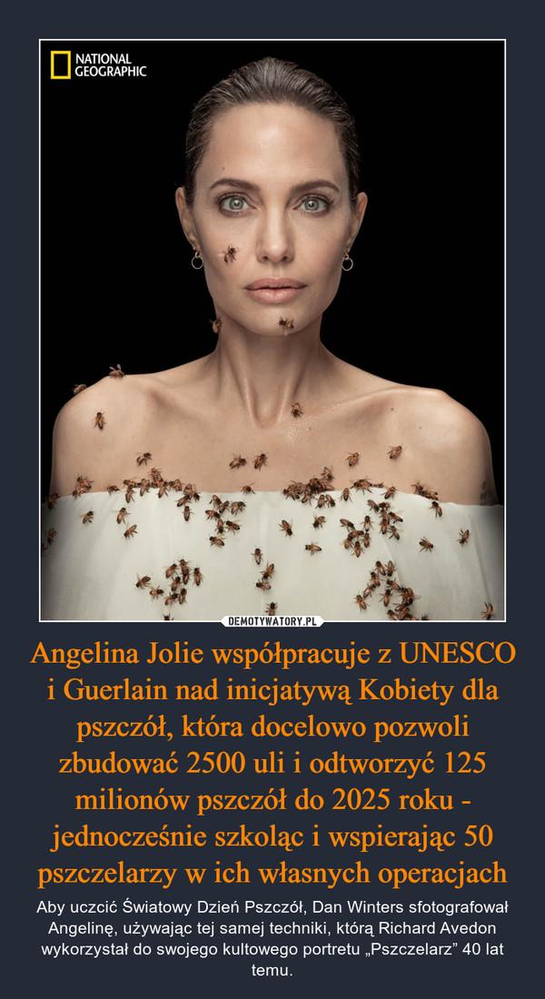 """Angelina Jolie współpracuje z UNESCO i Guerlain nad inicjatywą Kobiety dla pszczół, która docelowo pozwoli zbudować 2500 uli i odtworzyć 125 milionów pszczół do 2025 roku - jednocześnie szkoląc i wspierając 50 pszczelarzy w ich własnych operacjach – Aby uczcić Światowy Dzień Pszczół, Dan Winters sfotografował Angelinę, używając tej samej techniki, którą Richard Avedon wykorzystał do swojego kultowego portretu """"Pszczelarz"""" 40 lat temu."""