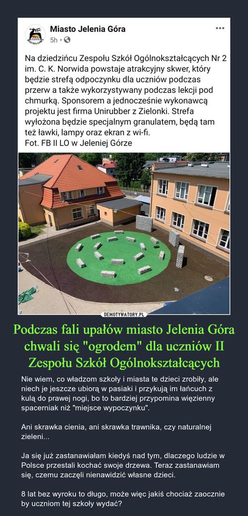 """Podczas fali upałów miasto Jelenia Góra chwali się """"ogrodem"""" dla uczniów II Zespołu Szkół Ogólnokształcących"""