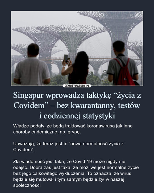 """Singapur wprowadza taktykę """"życia z Covidem"""" – bez kwarantanny, testów i codziennej statystyki"""