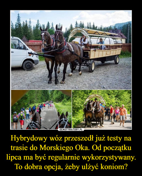 Hybrydowy wóz przeszedł już testy na trasie do Morskiego Oka. Od początku lipca ma być regularnie wykorzystywany. To dobra opcja, żeby ulżyć koniom?