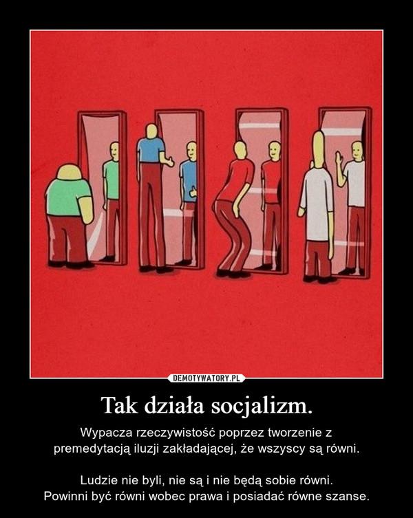Tak działa socjalizm. – Wypacza rzeczywistość poprzez tworzenie zpremedytacją iluzji zakładającej, że wszyscy są równi.Ludzie nie byli, nie są i nie będą sobie równi.Powinni być równi wobec prawa i posiadać równe szanse.
