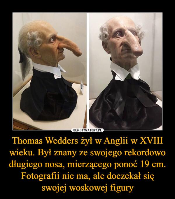 Thomas Wedders żył w Anglii w XVIII wieku. Był znany ze swojego rekordowo długiego nosa, mierzącego ponoć 19 cm. Fotografii nie ma, ale doczekał się swojej woskowej figury –