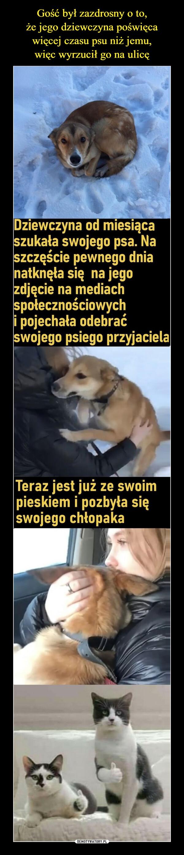 –  Dziewczyna od miesiącaszukała swojego psa. Naszczęście pewnego dnianatknęła się na jegozdjęcie na mediachspołecznościowychi pojechała odebraćswojego psiego przyjacielaTeraz jest już ze swoimpieskiem i pozbyła sięswojego chłopaka